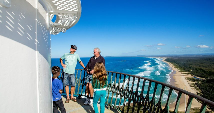 Tour with family at Smoky Cape Lighthouse_Looking South_Macleay Valley Coast